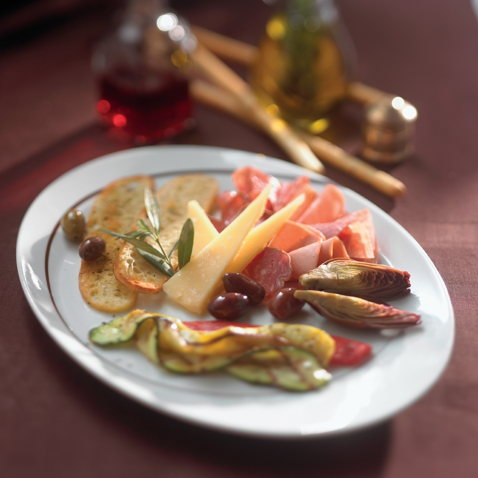A traditional antipasto plate from Celebrity Cruises' Tuscan Grille restaurant.