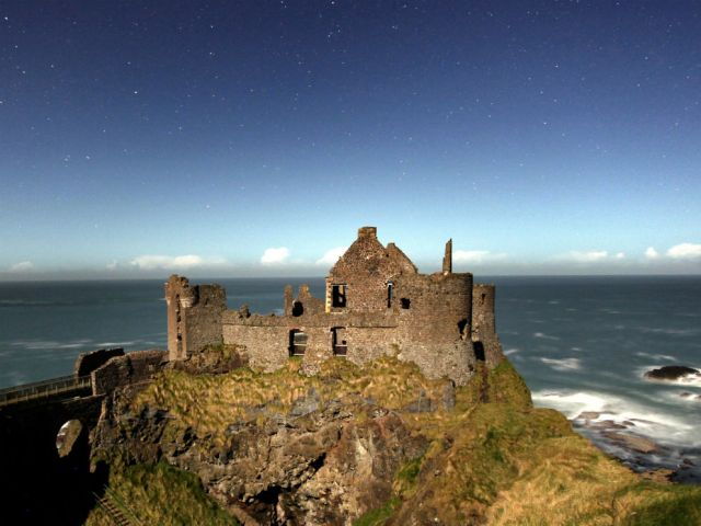 Europe_Ireland_Dunluce Castle at Moonlight