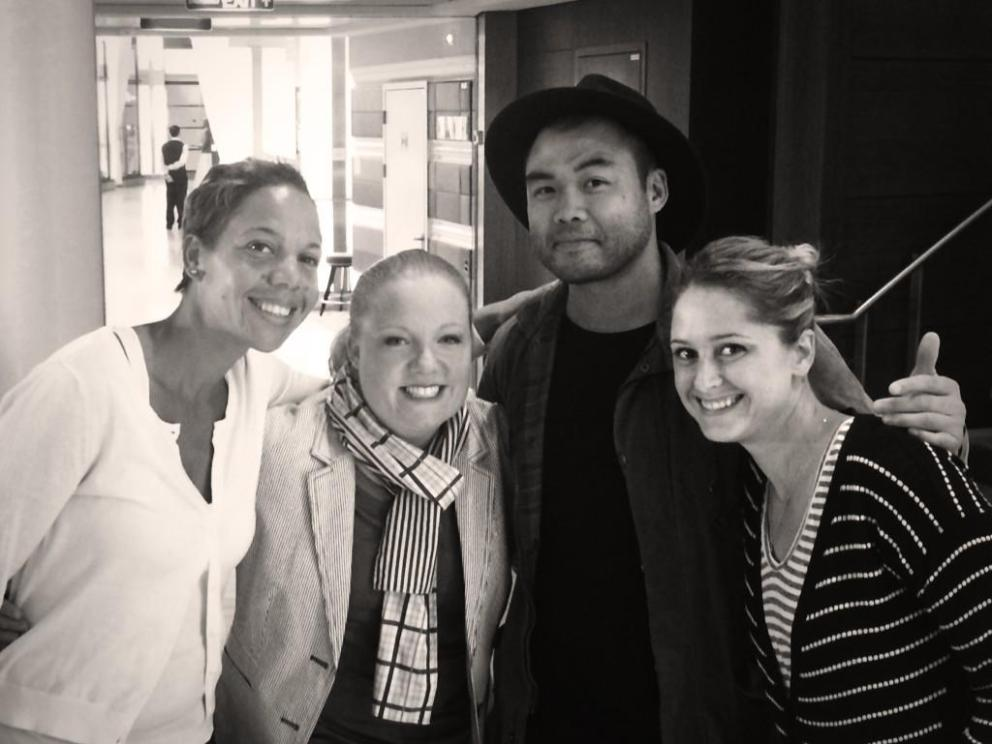 Paul Qui, second from right, joins fellow 'Top Chef At Sea' participants Nina Compton, Tiffani Faison and Brooke Williamson. Courtesy: Instagram