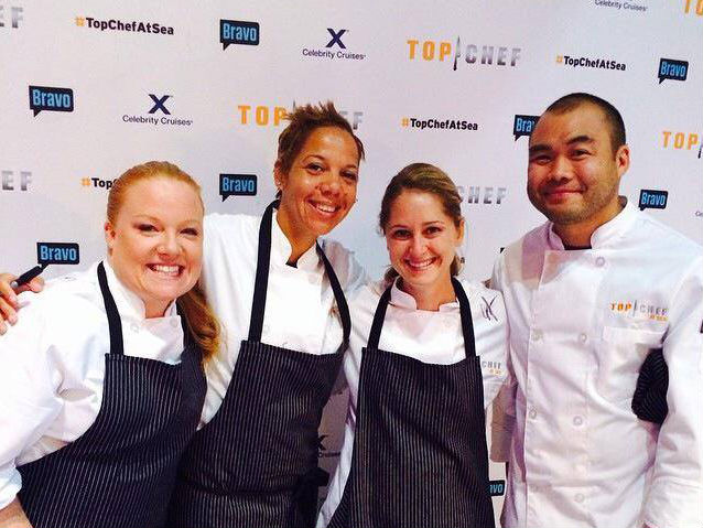 "Nina Compton, second from left, prepares for her ""Top Chef at Sea"" journey."