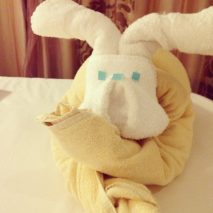 Chef Faison's favorite part of cruising: towel animals! Courtesy: Instagram