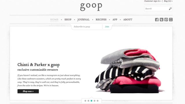 Goop Homepage